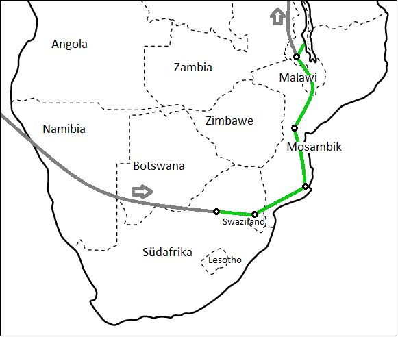 Afrika-Karte mit Reiseroute