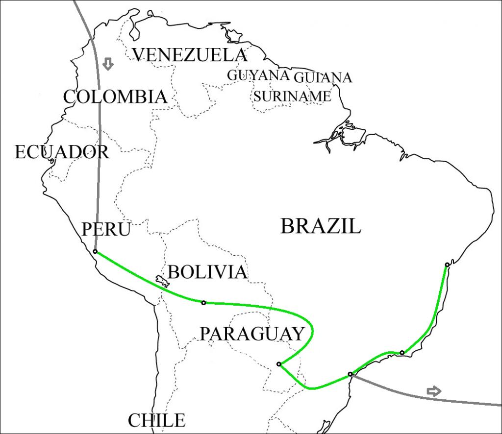 Südamerika-Karte mit Reiseroute